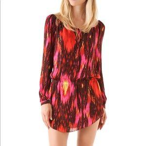 Haute Hippie Ikat Print Silk Mini Dress
